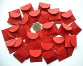 GROUP of 32 Tiny ENVELOPES- Persimmon (Set N)- for wedding favors, love notes, tiny banners, gift envelopes, candy