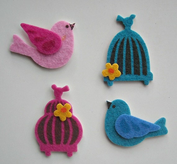 BIRDS and BIRDCAGES- Felt STICKERS- For a myriad of Crafts or to use anywhere you want a touch of whimsy