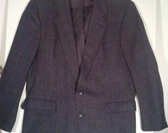 Men vintage herringbone 80s blazer cocktail jacket 46 44 L grunge punk 80s wool 2 button