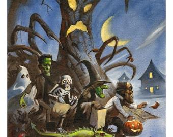 Mike Hoffman Spooky Trick or Treat Print HALLOWEEN TERROR TREE