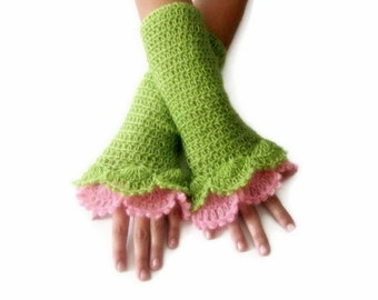 Crochet Fingerless Gloves , Green, Pink, Elegant, Shabby, Chic, Lace gloves