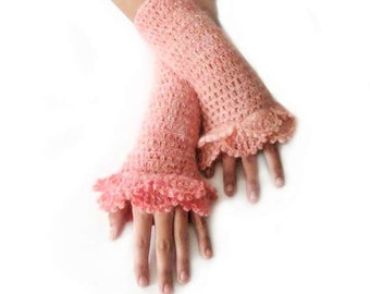 Crochet Fingerless Gloves , Peach, Salmon, Bridal, Bride, Elegant, Shabby, Chic, Lace gloves, Winter, christmas gift,