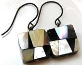 Multi colored shell mosaic earrings, shell earrings, black shell earrings