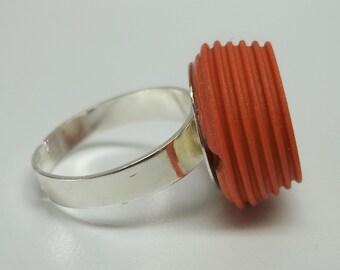 vintage orange acrylic adjustable button ring,orange button ring,orange button,vintage orange button rings,orange acrylic button ring,orange
