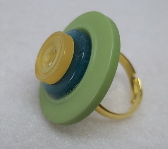 Green yellow button ring,green ring,green button ring,eco friendly,adjustable gold plated ring,gift,teens,women,