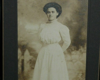 Reading PA Traditional Edwardian Lady in Flowing White Dress Studio Portrait Antique Photograph