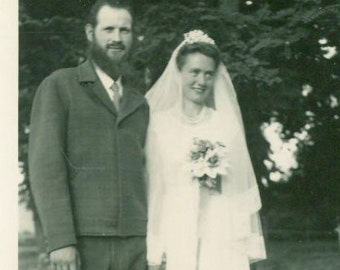 Wedding Day Groom With Full Beard Simple Bride Sandals White Veil Post War Photo Photograph