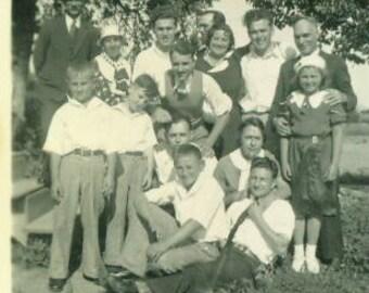 1934 Happy Family Outdoor Garden Depression Era Vintage Antique Photo Photograph
