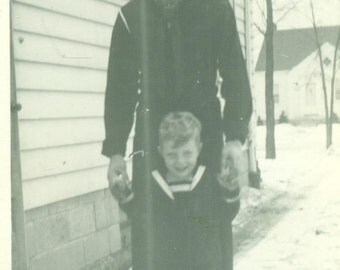 1945 WW2 Navy Sailor and Son in Uniform Daddy is Home World War 2 Vintage Photo Black and White Photograph