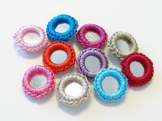 50 pcs Gypst Hippy Crochet Mirror Bead Appliques 10 Color EA87