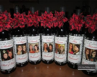 Wedding Bridesmaid Photo Wine Labels - Damask - Personalized Bridesmaid Gifts