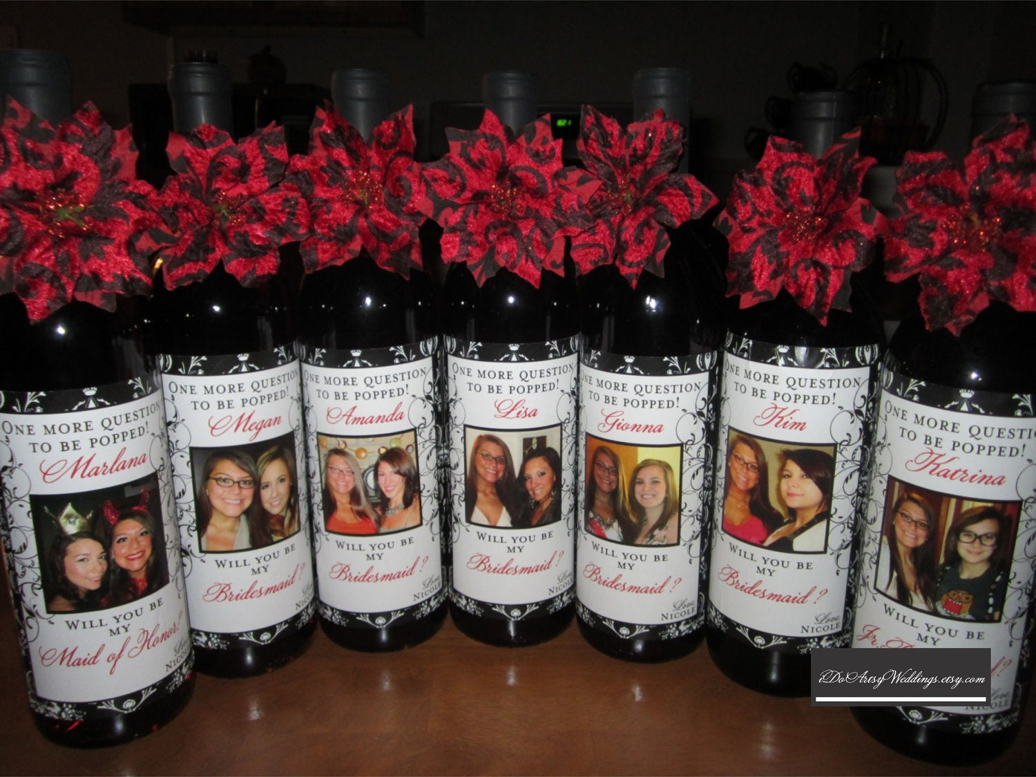 Wedding Bridesmaid Photo Wine Labels Damask Personalized