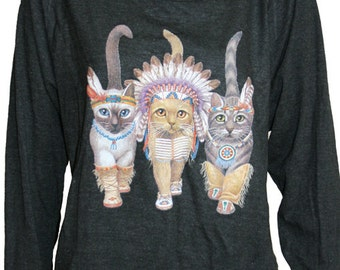 "Three Native Kitty Cats Pullover Slouchy t shirt  ""Sweatshirt""  Top American Made Black S, M, or L"