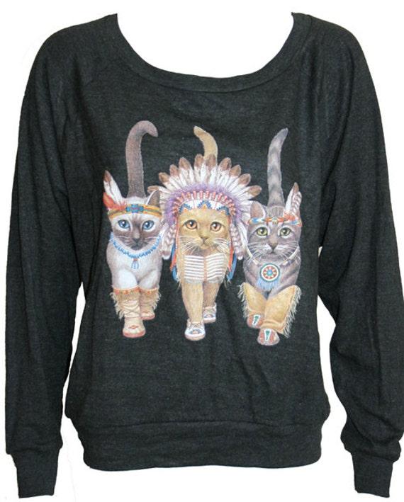 "Native Cats American Apparel Long Sleeve Raglan ""Sweater"" Black S"