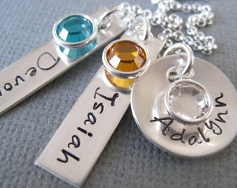 Personalized Jewelry - Hand Stamped Sterling Silver Mommy Necklace - Two Tags and Disc with Birthstones
