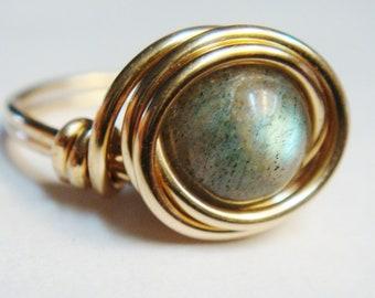 Gold Labradorite Ring   Labradorite 14K Gold Filled Ring   14K Gold Filled Ring   Labradorite Jewelry   Gold Ring