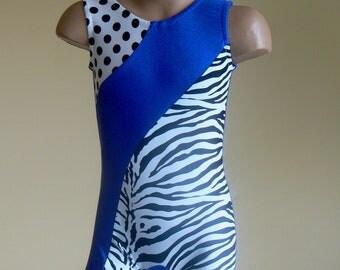 Royal Blue Zebra Print Polka Dots Nylon Spandex Biketard. Toddlers Girls Gymnastics Dance Biketard. Size 2T - Girls 10