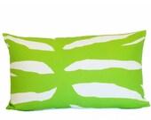 green zebra pillow cover home decor linen throw 16x26 graphic flea market trixie