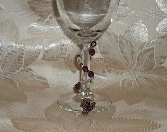 Wine Glass Wraps or Markers with Grape Beaded Charms