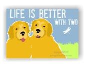 Golden Retriever Art Wall Decor Life is Better with Two, Golden Retriever Decor, Golden Retriever Life is Better with Three