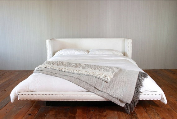 White Fabric Platform Bed - With Vintage Nails