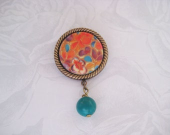 Ornamental Fall Brooch Pin with Dangle