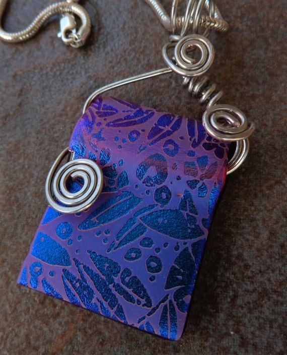 Pink and Blue Etched Glass Pendant