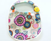 Flower Polka Dot Bib with Crotcheted Lace Edging and Sparkles