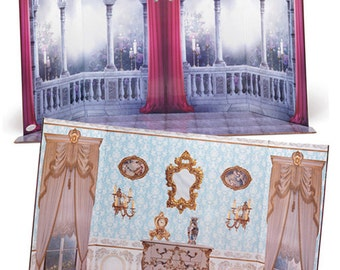 """Reversible Doll Scene Backdrop - Interior and Castle with floor - fits 18"""" American Girl and Carpatina Dolls"""