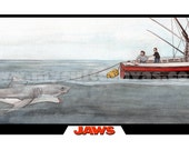 Original JAWS Movie Poster Art Print Bruce the Shark  ORCA Art Print Poster by Phil Gibson