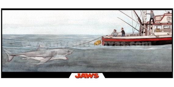 Shark Boat Toy : Original jaws movie poster art print bruce the shark orca