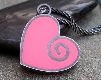 Heart Necklace - Pink Heart Necklace - Hot Pink Resin Heart Pendant - Heart Spiral Necklace - Pink Resin Heart Sterling Silver Necklace