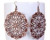 Antique copper flower drop dangle earrings (580) - Flat rate shipping
