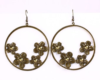 Large antique brass flower dangle earrings (544) - Flat rate shipping