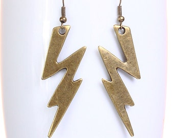 Large antique brass lightning dangle earrings (628) - Flat rate shipping