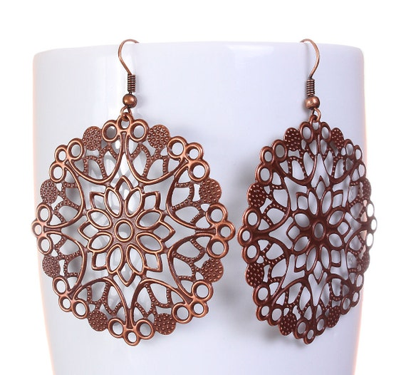 Antique copper flower drop dangle earrings (580) - Flat rate shipping