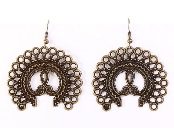Large antique brass filigree dangle earrings (611) - Flat rate shipping