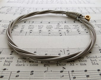 Recycled Bass Guitar String Bracelet silver colored with brass ball end attached Mens or Womens Birthday Gift