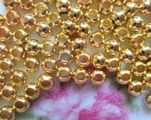200 Gold spacer beads iron 3mm metal diy jewelry supply
