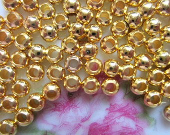 200 Gold spacer beads iron 3mm beads metal diy jewelry supply (SR),