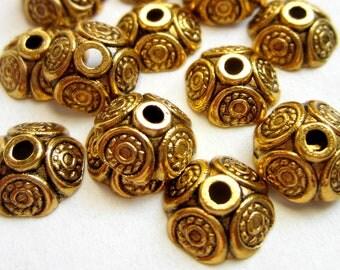 30 Metal Bead caps antique gold 9mm x 4mm DIY jewelry supplies GLF065-X6