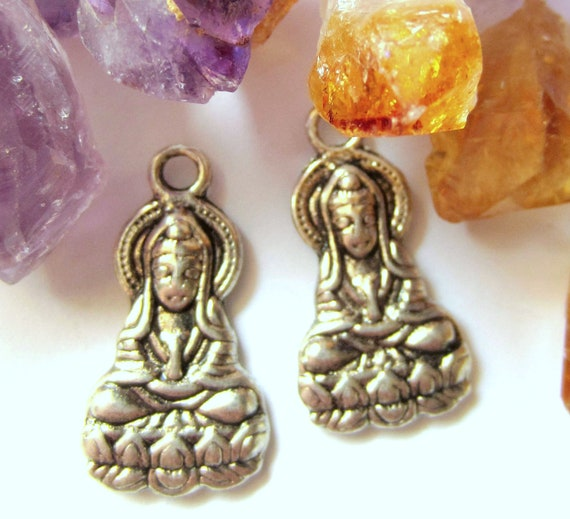 10 Buddha charms Antique silver Goddess of mercy pendant 26mm 14mm double sided A1153