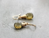 Olive Quartz Earrings, Faceted Moss Green Quartz Gemstone 14k Gold Filled Wire Wrapped Earrings - Elfin - GlitzGlitter