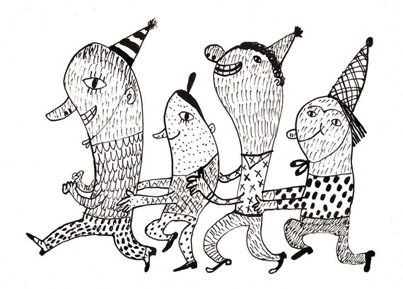 Birthday dance party / ORIGINAL DRAWING / Black and white