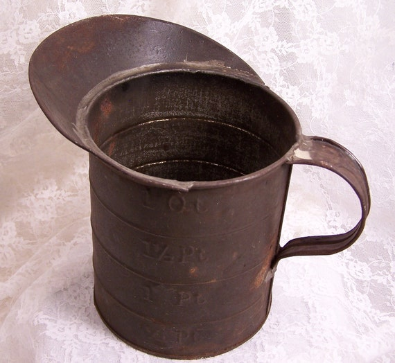 Antique Galvenizied Metal Measuring Cup Metal By