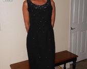 1960's full-length, sleeveless, black beaded evening dress - size - L