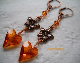 Astral Pink Swarovski Crystal Wild Heart Earrings with Copper Flower Components