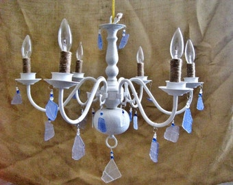 Ocean View Large White Sea Glass Electric Chandelier MADE TO ORDER