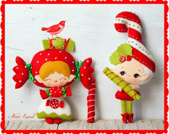 PDF. Candy and candy cane elves. Plush Doll Pattern, Softie Pattern, Soft felt Toy Pattern.
