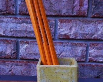 Handmade Caribbean Yellow Classic Ceramic Tooth Brush, Pencil or Q Tip Holder